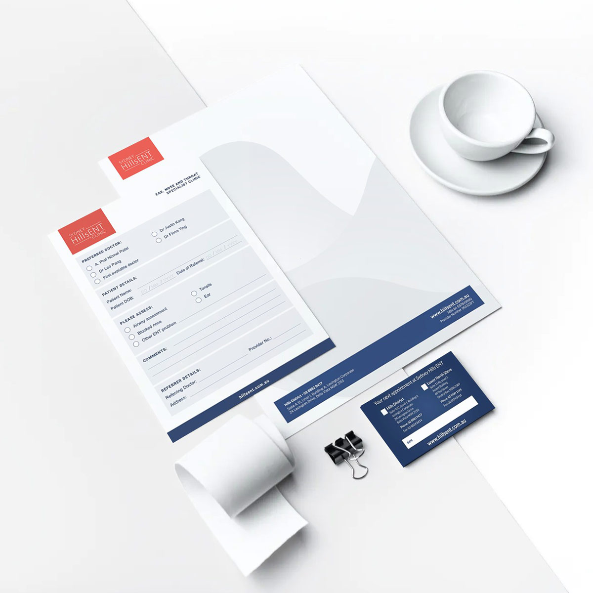 Office stationary showcasing graphic design and branding for Sydney Hills ENT