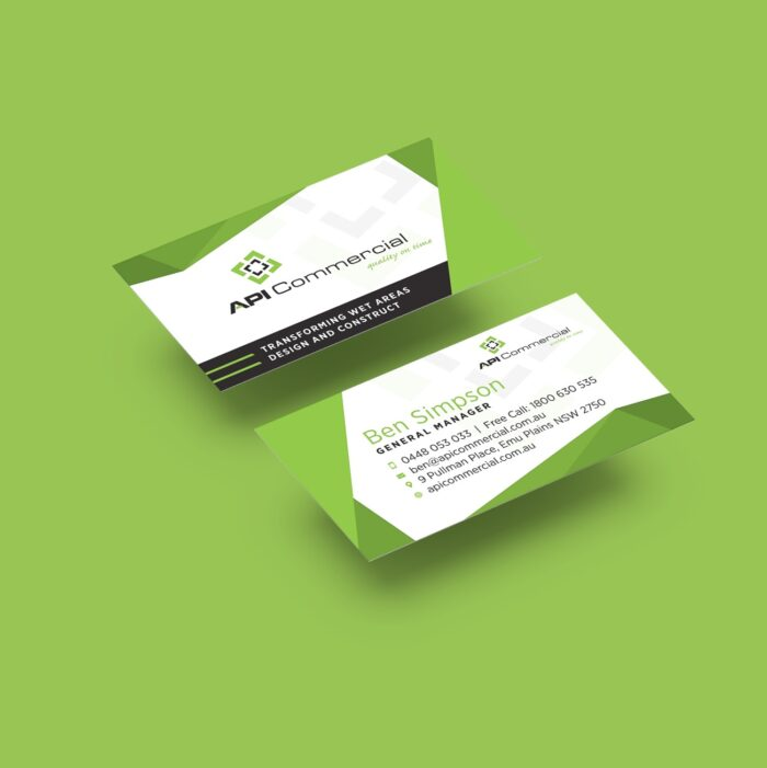 Business card design for API Commercial on green background