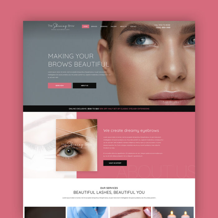 Eyebrow Bar Single Page Template