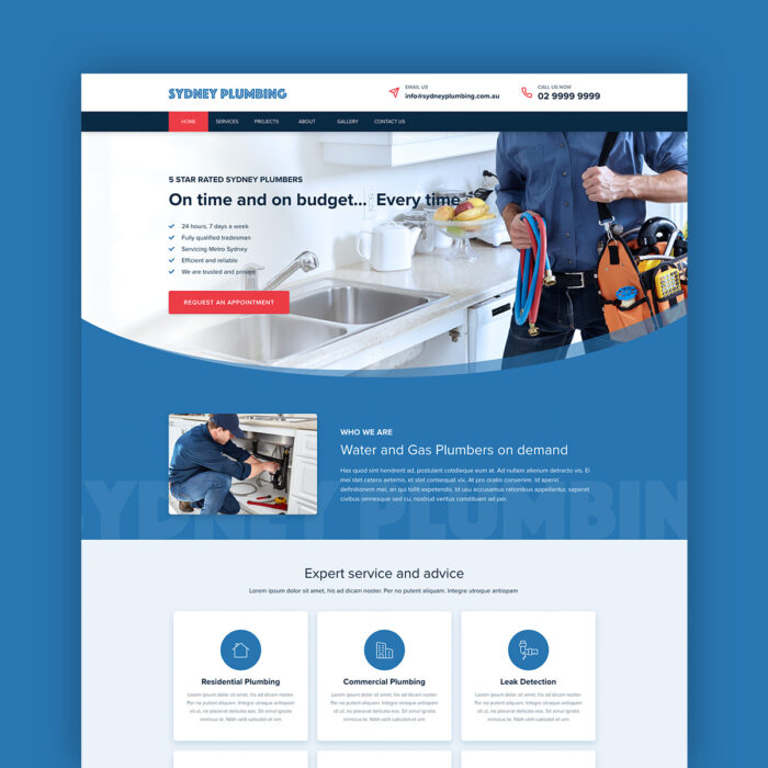 Sydney Plumbing Single Page Website Template