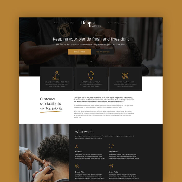 The Dapper Barber One Page Website Template