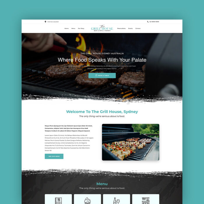 The Grill House One Page Website Template